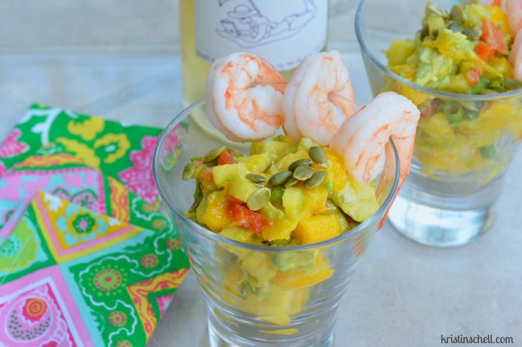 shrimp, papaya, mango salsa WM