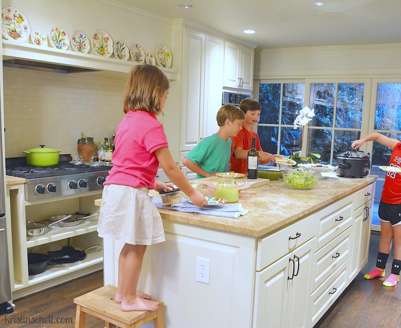 Littles eating in the kitchen