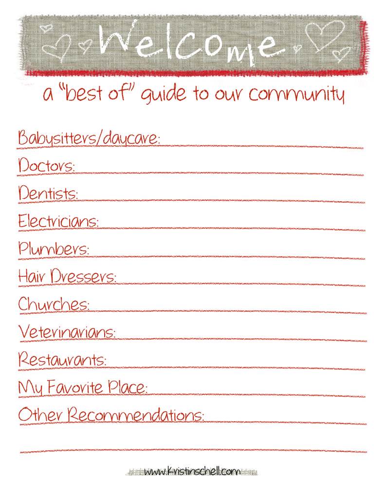 Best of Guide To Our Community {printable} | 31 Days of Outrageous Hospitality with Kristin Schell