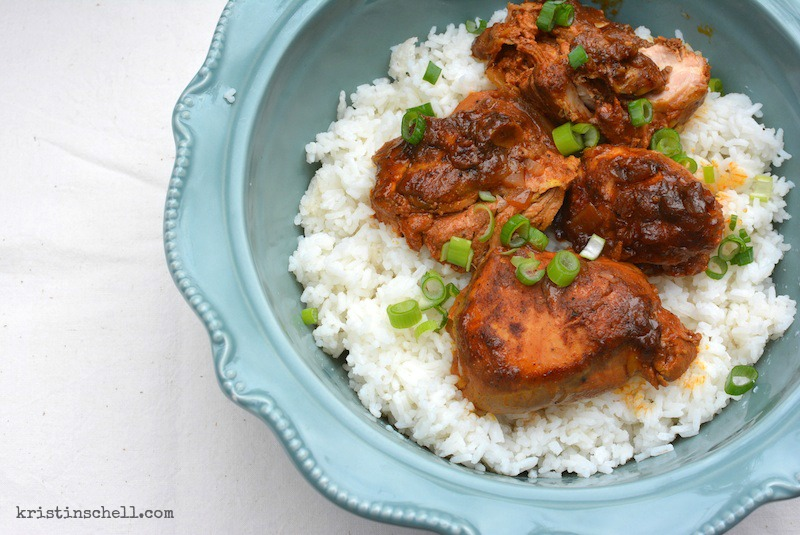 Delicious spiced chicken with curry and fresh ginger couldn't be easier with this quick crockpot recipe. Dinner on the table in minutes!