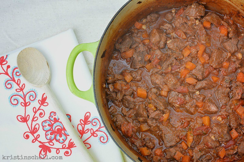 One of our family's favorite suppers! This delicious Provencal Beef Stew is an easy, weeknight dinner. A true one-pot-wonder. Serve with crunchy French bread or over noodles.