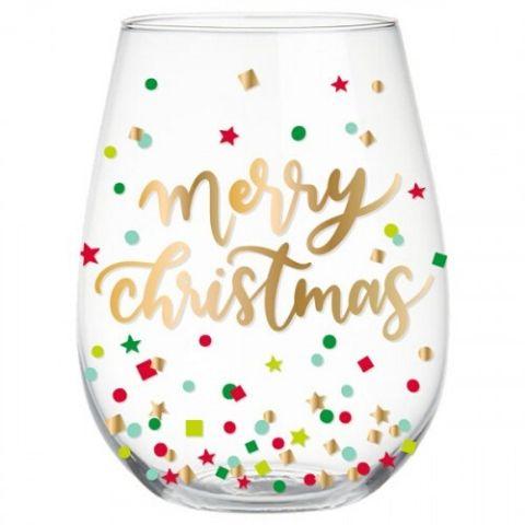Merry Christmas Stemless Wine Glass