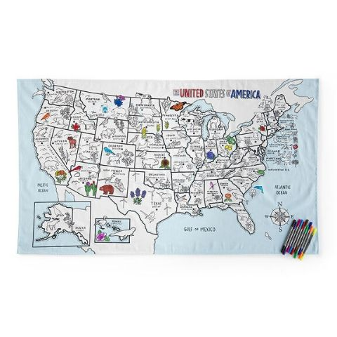 USA Map Coloring Table Cloth - The 2019 Turquoise Table Gift Guide